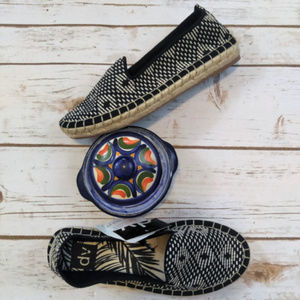 Dolce Vita Black and Tan Espadrille Flats